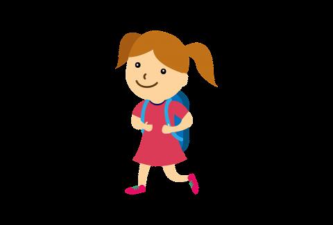Dívka jde do školy